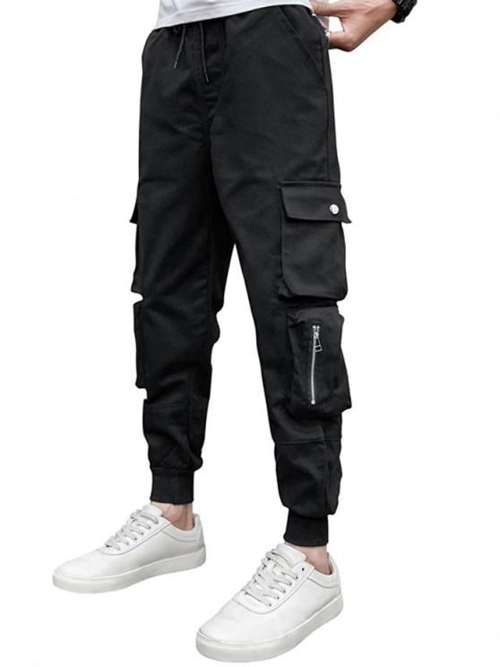 Drawstring Waist Zip Pocket Beam Feet Cargo Pants - أسود M