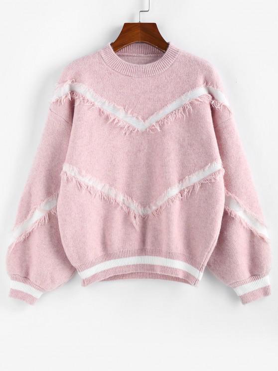 ladies Lantern Sleeve Drop Shoulder Frayed Graphic Sweater - LIGHT PINK M