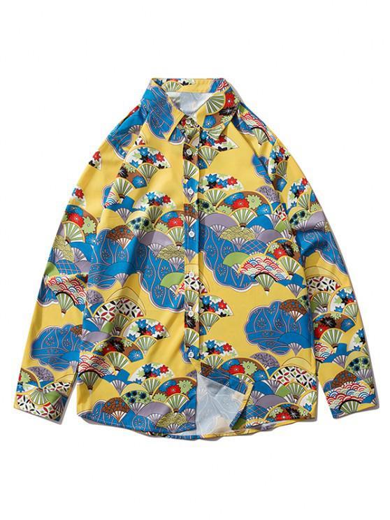 lady Long Sleeve Japanese Fan Print Shirt - GOLDEN BROWN XL