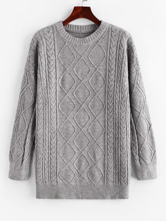 Crew Neck Fisherman Knit Tunic Sweater - اللون الرمادي حجم واحد