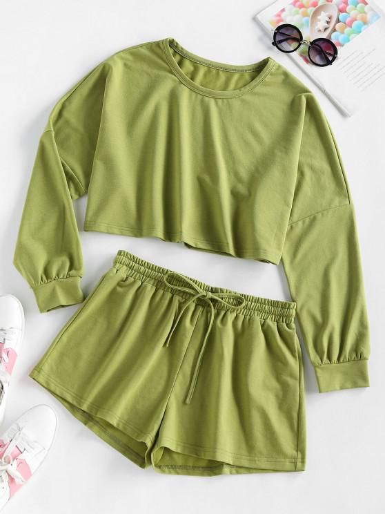 Felpa a Spalle Scivolate e Pantaloncini con Coulisse di ZAFUL - Verde Camouflage  L