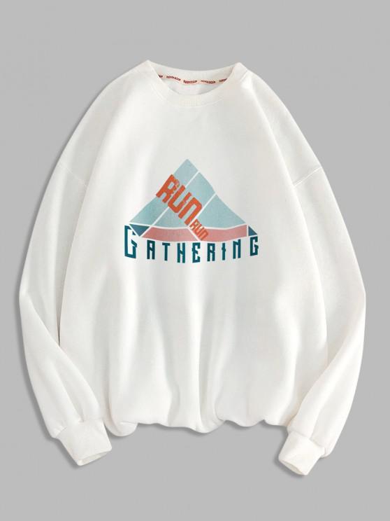 Sweat-shirt Géométrique Lettre Imprimée à Col Rond - Blanc M