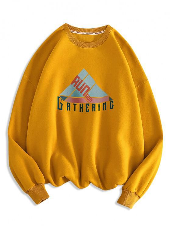 Sweat-shirt Géométrique Lettre Imprimée à Col Rond - Orange d'Or M
