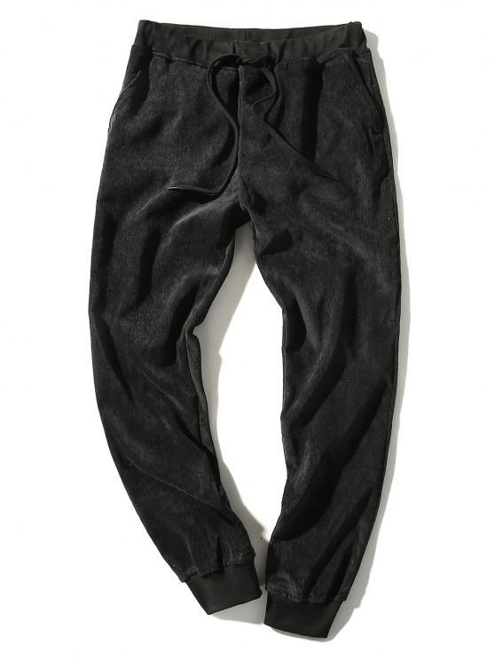 Elastic Waist Solid Beam Feet Corduroy Pants - أسود M