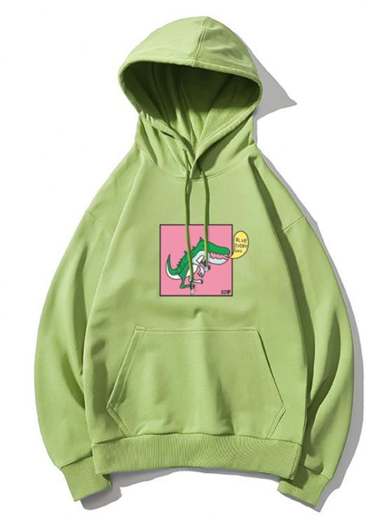 shop Cartoon Dinosaur Graphic Drop Shoulder Casual Hoodie - GREEN 3XL