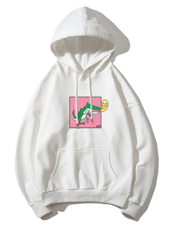 Cartoon Dinosaur Graphic Drop Shoulder Casual Hoodie - أبيض XL