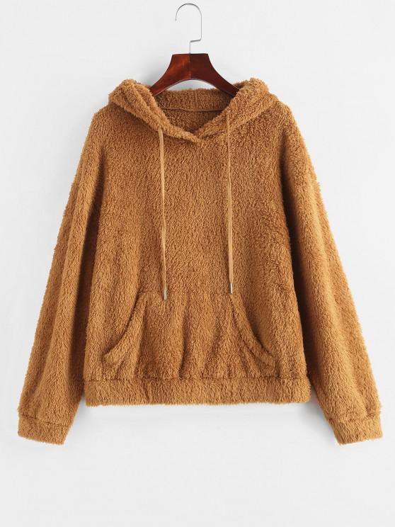 ZAFUL Drawstring Kangaroo Pocket Fuzzy Hoodie - Dark Goldenrod S