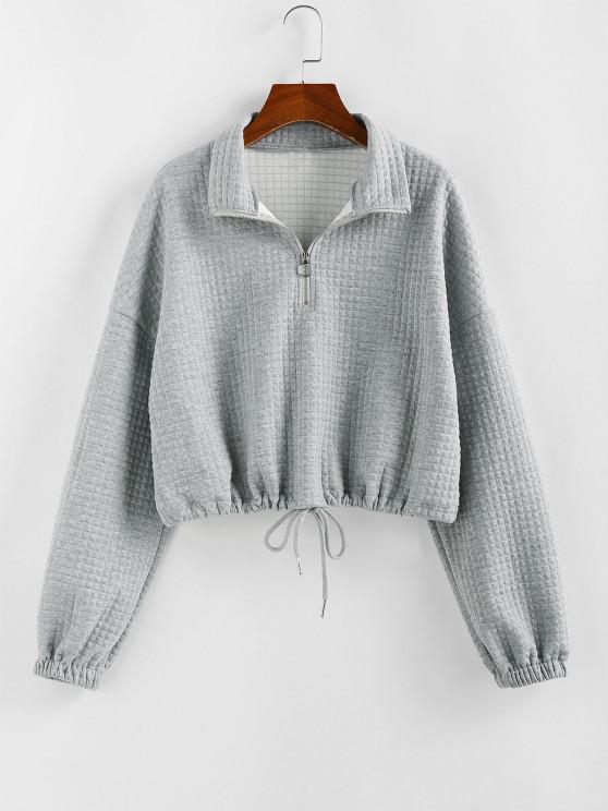 women's ZAFUL Zipper Drawstring Sweatshirt - GRAY GOOSE L