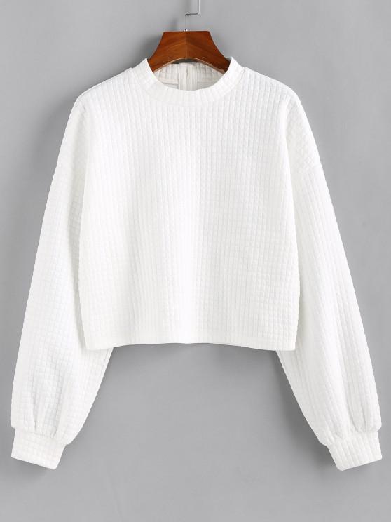 shops ZAFUL Textured Buttoned Drop Shoulder Sweatshirt - WHITE S