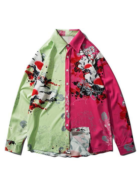 trendy Printed Contrast Colorblock Drop Shoulder Shirt - LIGHT GREEN XL