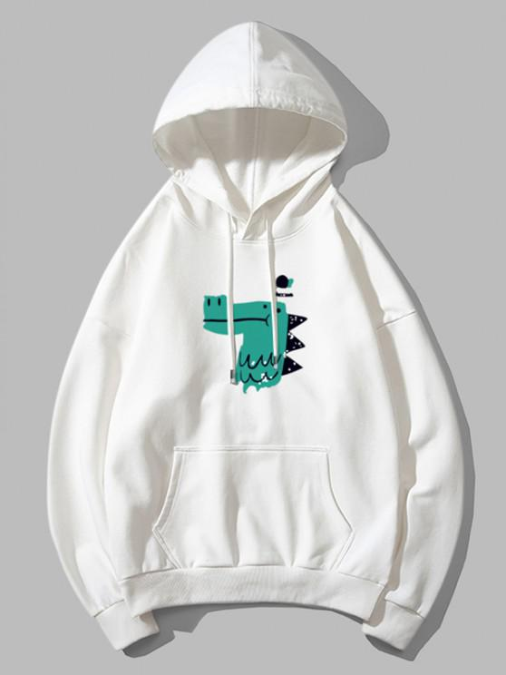 hot Dinosaur Head Graphic Drop Shoulder Pullover Hoodie - WHITE M