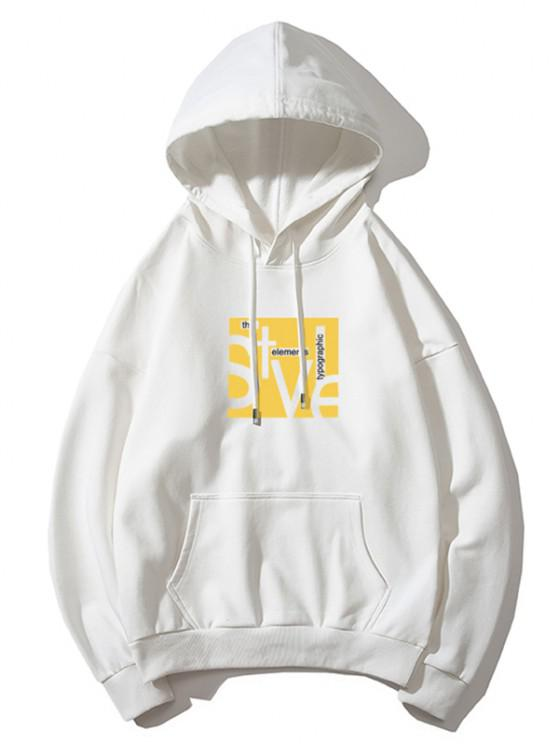 Style Graphic Pouch Pocket Drawstring Hoodie - أبيض M