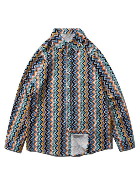 Vertical Zigzag Print Drop Shoulder Lounge Shirt - البحريه الزرقاء M