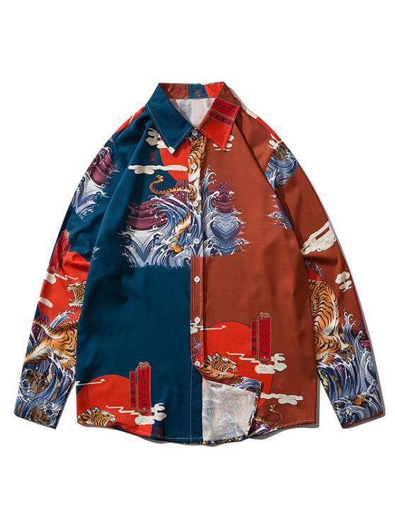 best Long Sleeve Animal Wave Print Oriental Shirt - RED WINE M