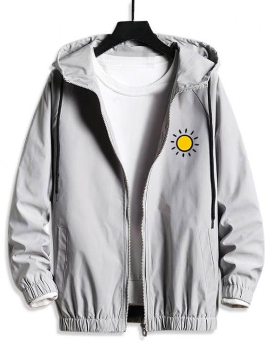 outfit Sun Graphic Hooded Casual Blouson Jacket - PLATINUM S