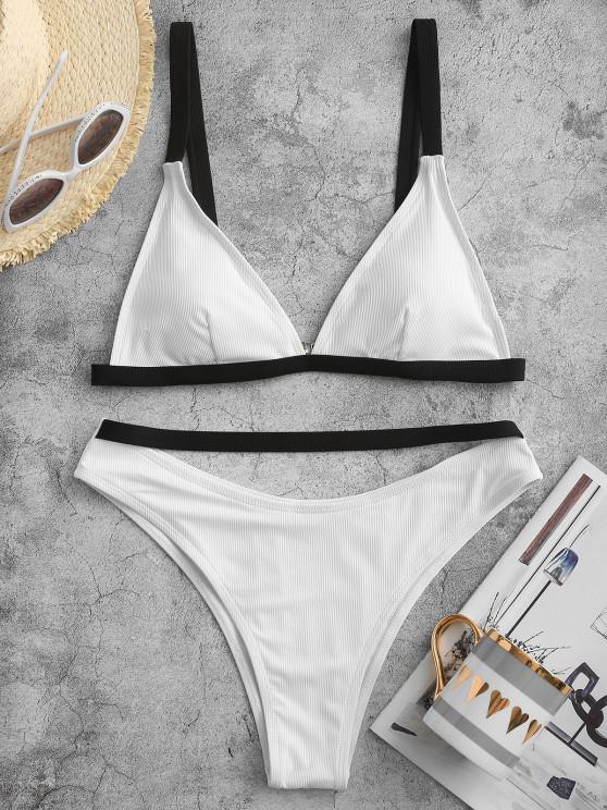 ZAFUL Contrast Binding Ribbed High Cut Bikini Swimwear - أبيض S
