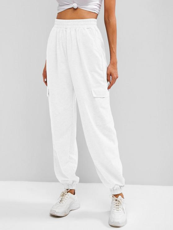 sale Flap Pocket French Terry Cargo Jogger Pants - WHITE S