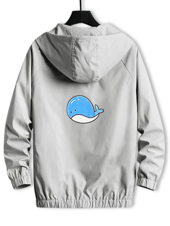 shop Hooded Cartoon Fish Back Windbreaker Jacket - LIGHT GRAY S