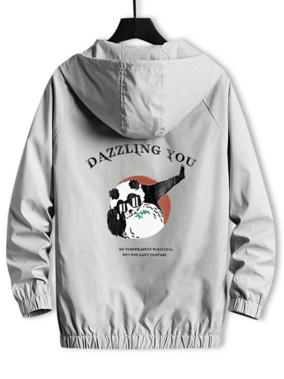 Hooded Windbreaker DAZZLING YOU Panda Jacket - بلاتين S