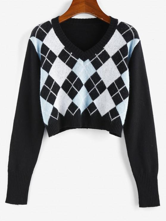 trendy ZAFUL Argyle V Neck Crop Sweater - BLACK L
