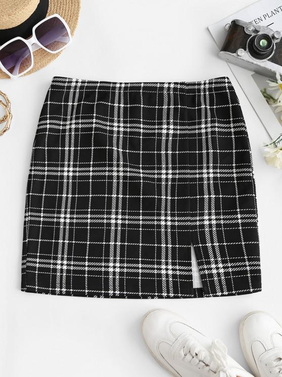 ZAFUL Checked Side Slit Skirt - أسود L