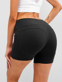 Wide Waistband Topstitch Peach Buttock Biker Shorts - Black S