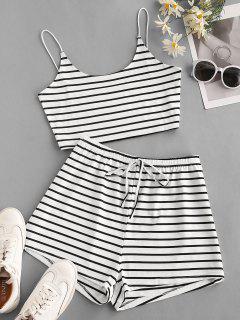 Striped Two Piece Shorts Set - White Xl