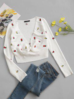 Tiny Floral Embroidered Tie Front Cropped Sweater - White