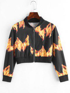 Flammen Druck Pull Ring Zugeschnitter Jacke - Schwarz M