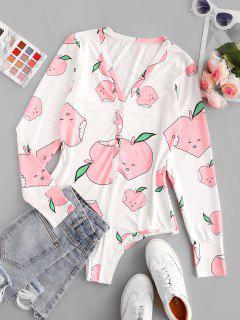 Cartoon Print Button Placket Bodysuit - Light Pink S