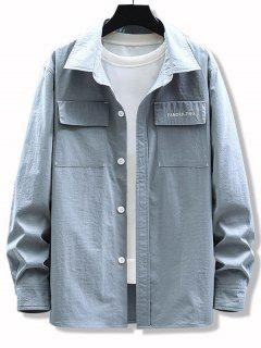 Letter Embroidery Elbow Patchwork Flap Pocket Shirt - Light Gray S