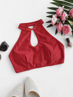ZAFUL Keyhole Chinoiserie Frog Fastener Swim Top - Red L