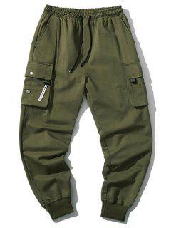 Pantaloni Cargo Da Jogging Con Coulisse E Tasche Con Patta - Verde Dell'esercito Xs