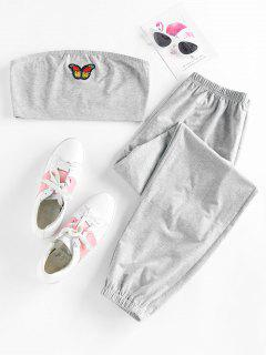 ZAFUL Strapless Butterfly Applique Jogger Pants Set - Light Gray L