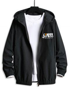 Zip Up Starry Graphic Hooded Blouson Jacket - Black S