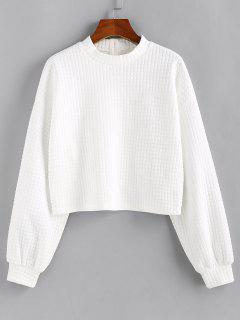 ZAFUL Textured Buttoned Drop Shoulder Sweatshirt - White M