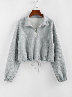 ZAFUL Zipper Drawstring Sweatshirt - Gray Goose L