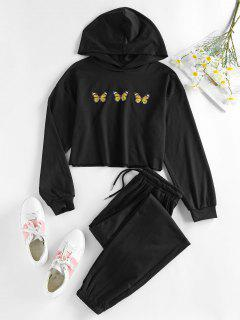 ZAFUL Cropped Butterfly Print Hoodie And Pants Sport Set - Night M