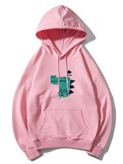 Dinosaur Head Graphic Drop Shoulder Pullover Hoodie - Pink L