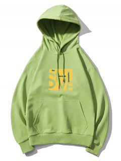 Style Graphic Pouch Pocket Drawstring Hoodie - Green Xl