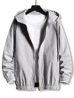 Plain Zip Up Hooded Blouson Jacket - Platinum Xs