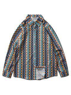 Camisa De Ombros Caido Com Impresso Zigue Zague - Azul Marinho M