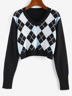ZAFUL Argyle V Neck Crop Sweater - Black S