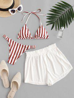 ZAFUL Striped Ribbed Ruffle Elastic Side Three Piece Bikini Swimwear - Red M