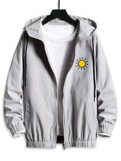 Sun Graphic Hooded Casual Blouson Jacket - Platinum S