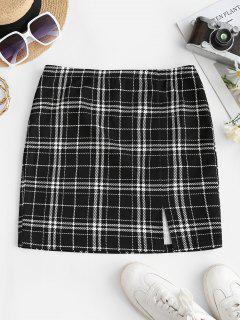 ZAFUL Checked Side Slit Skirt - Black S