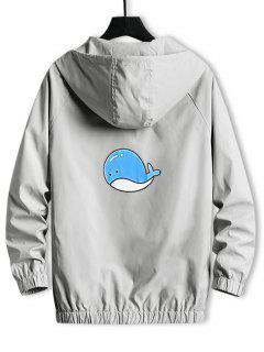 Hooded Cartoon Fish Back Windbreaker Jacket - Light Gray Xs