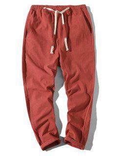 Plain Drawstring Lounge Straight Pants - Red Xs