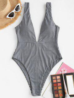 ZAFUL Ribbed Gingham Low Cut One-piece Swimsuit - Black L