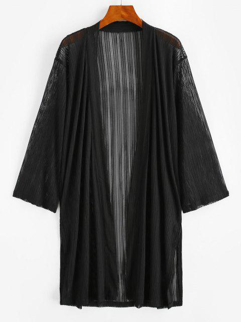 unique Shadow Stripes Side Slit Longline Cover Up - BLACK M Mobile